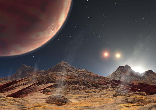 Representação artística do planeta HD 188553 Ab com três sóis
