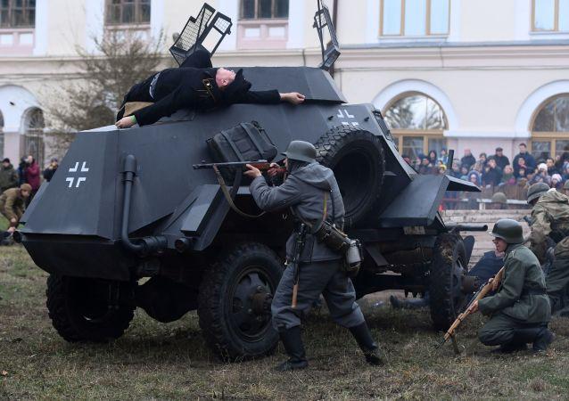 Recriação histórica Batalha de Kiev dedicada ao 75º aniversário de libertação de Kiev dos nazistas