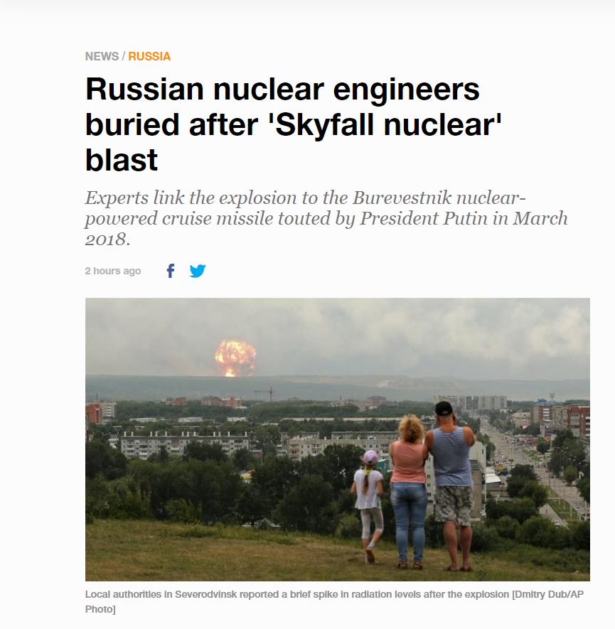 Al-Jazeera usa a foto errada em um artigo sobre uma explosão na região russa de Arkhangelsk
