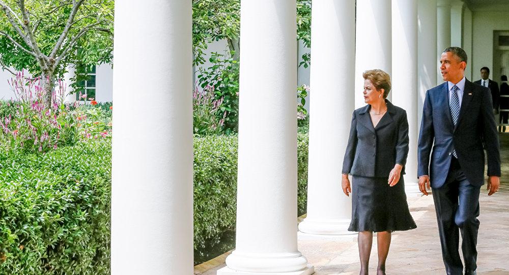 A presidenta do Brasil, Dilma Rousseff, e o presidente dos EUA, Barack Obama
