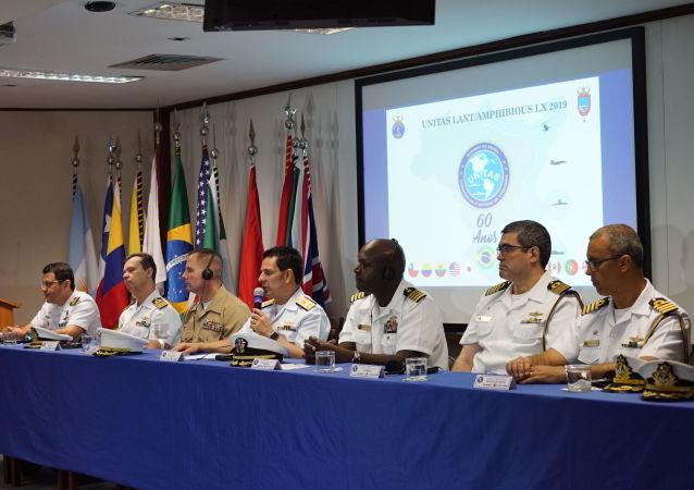 Coletiva de imprensa sobre a 60ª edição da operação UNITAS, na Base Naval do Rio de Janeiro