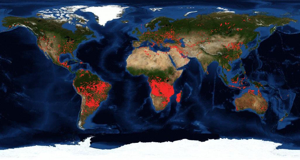 Mapa da NASA dos incêndios florestais de agosto de 2019