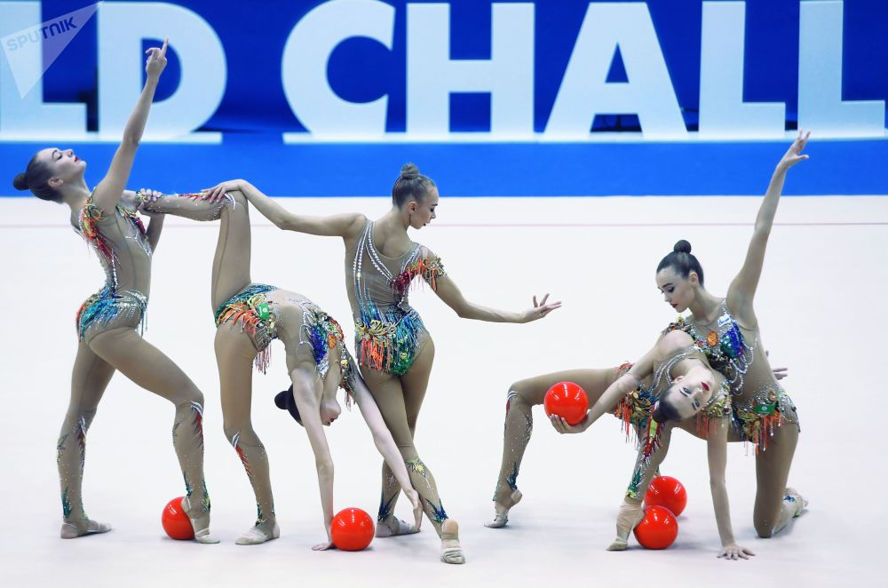 Ginastas russas na final da Copa de Ginástica Artística 2019 na cidade russa de Kazan