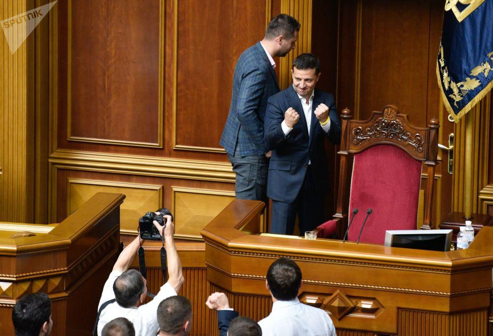 Presidente ucraniano, Vladimir Zelensky, durante reunião na Suprema Rada, parlamento do país