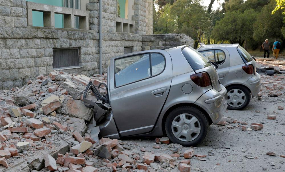 Destruição causada por terremoto em Tirana, capital da Albânia em 21 de setembro de 2019