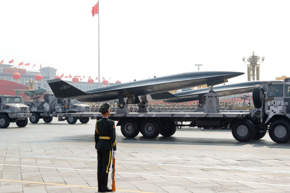 Drone de vigilância hipersônico WZ-8 durante o desfile militar marcando o 70º aniversário da fundação da República Popular da China, em Pequim