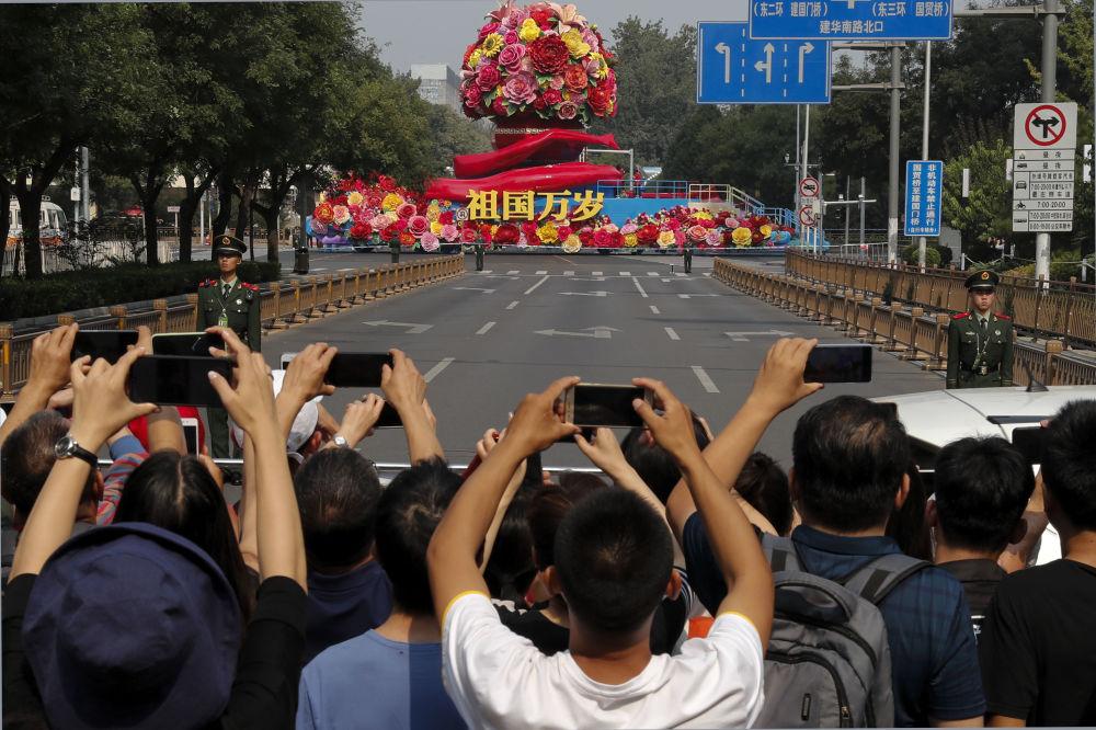 Desfile militar marcando o 70º aniversário da fundação da República Popular da China, em Pequim