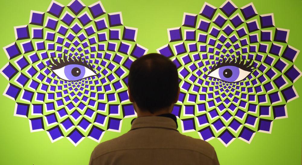 Homem em frente a imagem de ilusões de ótica durante exposição interativa em Augustusburg, Alemanha