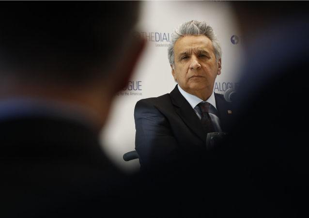 Lenín Moreno, o presidente do Equador durante fala em um evento no think tank Diálogo Inter-Americano, no dia 16 de abril de 2019, em Washington.