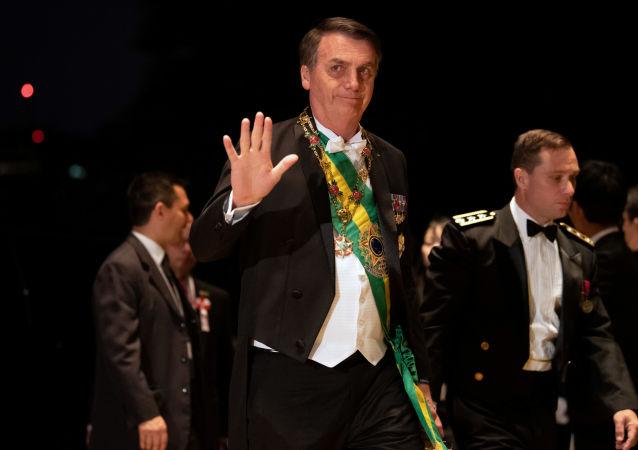 O presidente Jair Bolsonaro durante cerimônia de entronização do imperador Naruhito, no Japão.