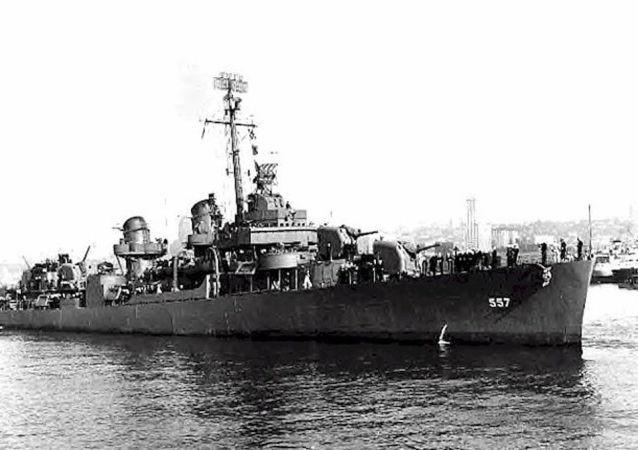 Destróier americano USS Johnston (DD-557) afundado na Batalha do Golfo de Leyte em 1944