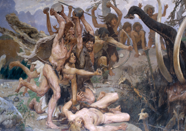 Cena de Idade da Pedra, Víktor Vasnetsov, 1885