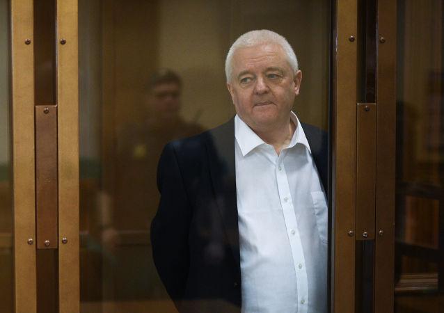 Espião norueguês Frode Berg em sala de tribunal em Moscou, na Rússia