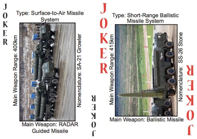 Cartas do novo baralho do exército norte-americano, que traz armamentos russos como curingas