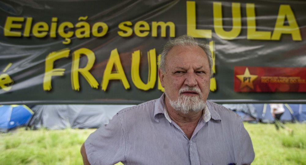 Coordenador do MST, João Pedro Stédile, durante o julgamento do ex-presidente Lula