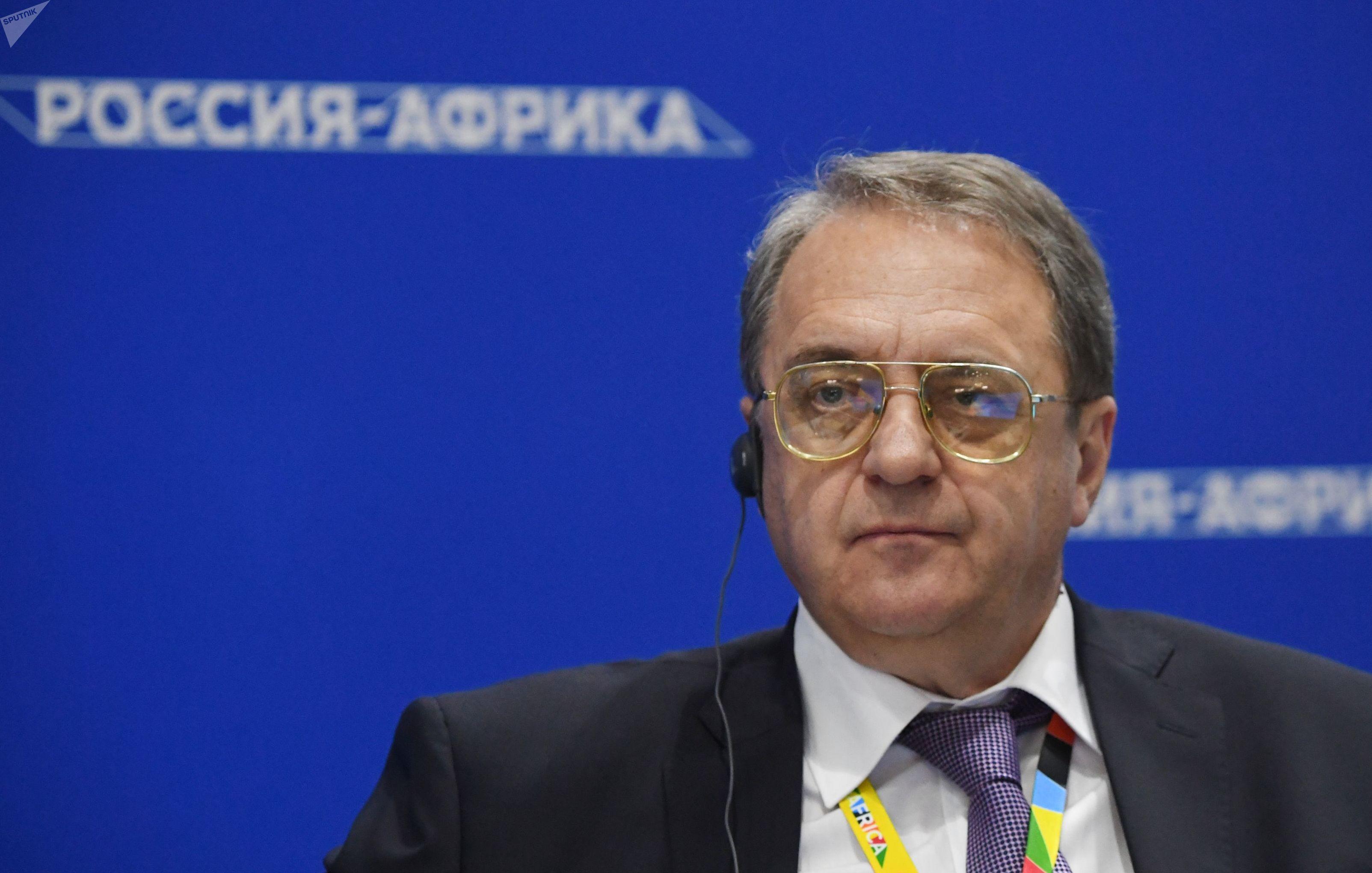 O encarregado especial da presidência russa para Oriente Médio e África, Mikhail Bogdavov, participa de fórum em Sochi (foto de arquivo).