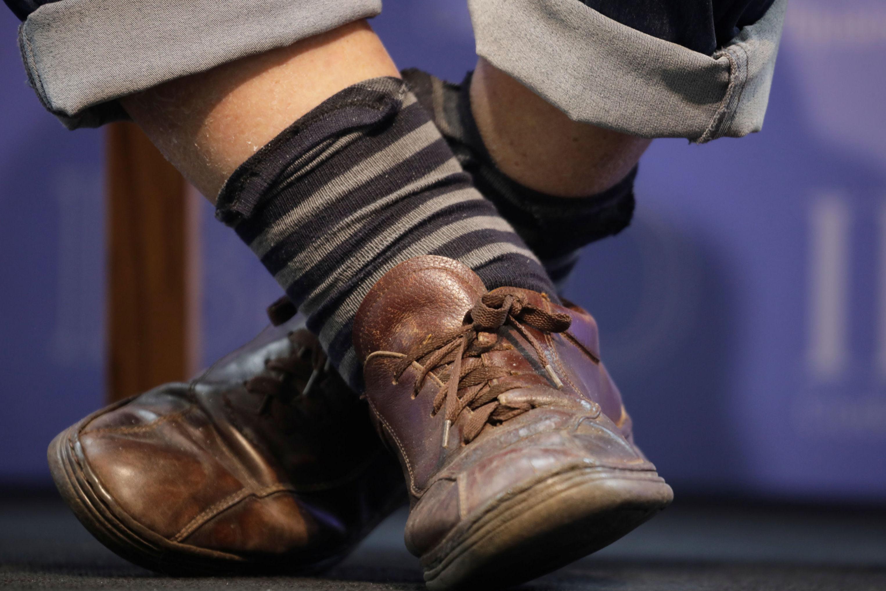 Sapatos do senador e ex-presidente uruguaio José Mujica. Com 84 anos, Mujica governou o Uruguai entre 2010 e 2015