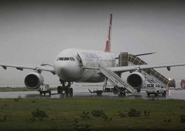 O Airbus 330 da Turkish Airlines foi alvo de ameaça de bomba.