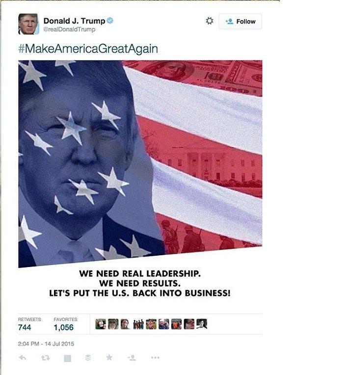 Screenshot do anúncio de Trump: Precisamos de uma verdadeira liderança. Precisamos de resultados.
