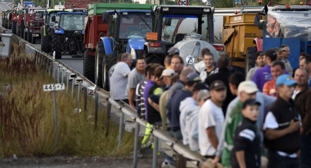 Agricultores em greve bloqueiam uma estrada na França