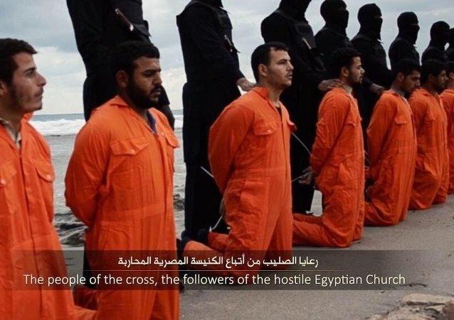 Imagem do vídeo sobre a suposta execução de 21 cristãos egípcios