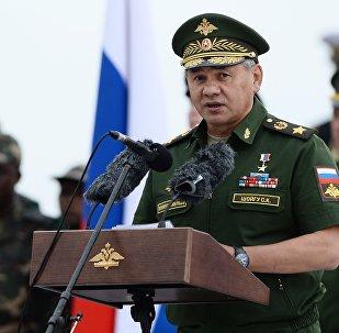 Sergei Shoigu, ministro da Defesa da Rússia, durante a inauguração dos Jogos Militares 2015