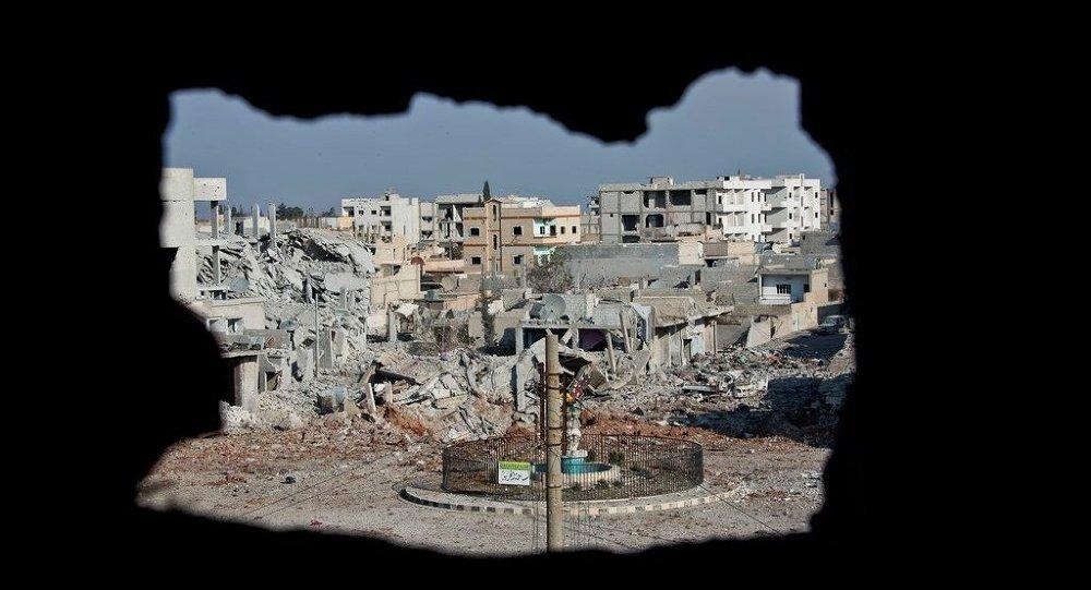 Área controlada pelo Estado Islâmico em Kobani, na Síria