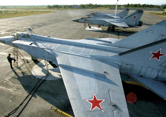 Aeronaves MiG-31, da Frota Russa do Oceano Pacífico, durante manobras na região de Kamchatka