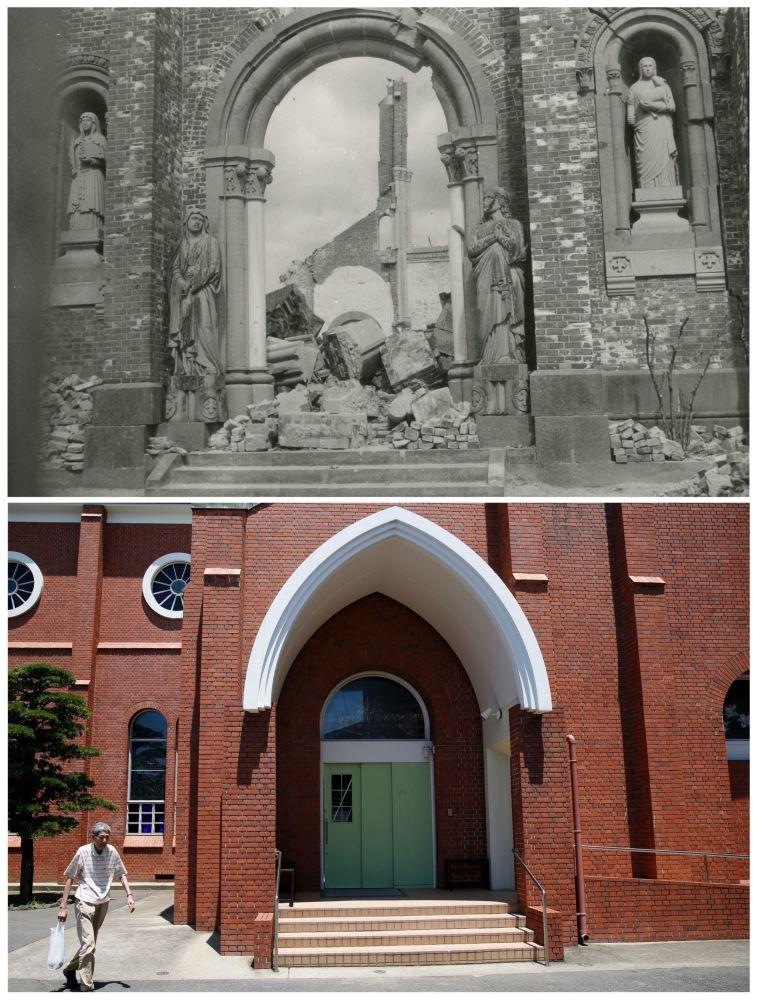 A Catedral de Urakami em Nagasaki depois da explosão da bomba atômica em 9 de agosto de 1945 e hoje em dia.