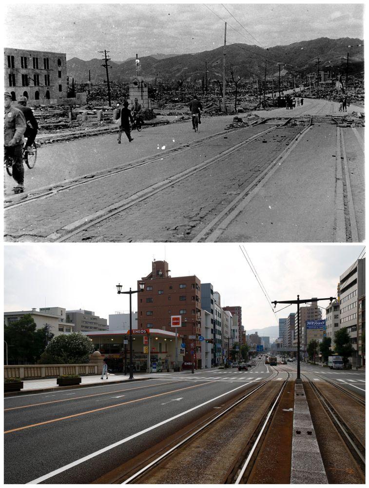 A ponte Aioi na cidade de Hiroshima depois do bombardeio atômico em 6 de agosto de 1945 e nos nossos dias (de baixo).