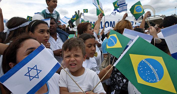 Bandeiras do Brasil e de Israel