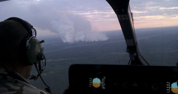 Vista de helicóptero mostra incêndios florestais a cerca de 40 km da usina nuclear de Chernobyl, na região de Kiev, na Ucrânia. 29 de junho de 2015.