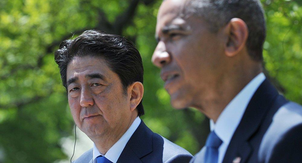Presidente dos Estados Unidos Barack Obama e primeiro-ministro do Japão Shinzo Abe
