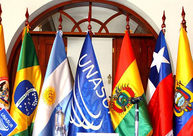 Bandeiras dos países membros da Unasul