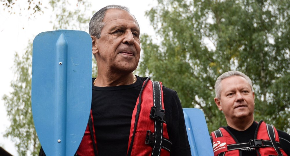 Russian Foreign Minister Sergei Lavrov while opening a rafting center in northwestern Russia