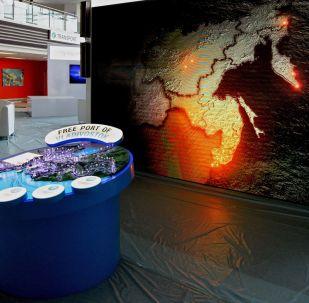 A sala de exposições da Universidade Federal de Extremo Oriente, onde foi realizado o Fórum Econômico do Oriente, em Vladivostok