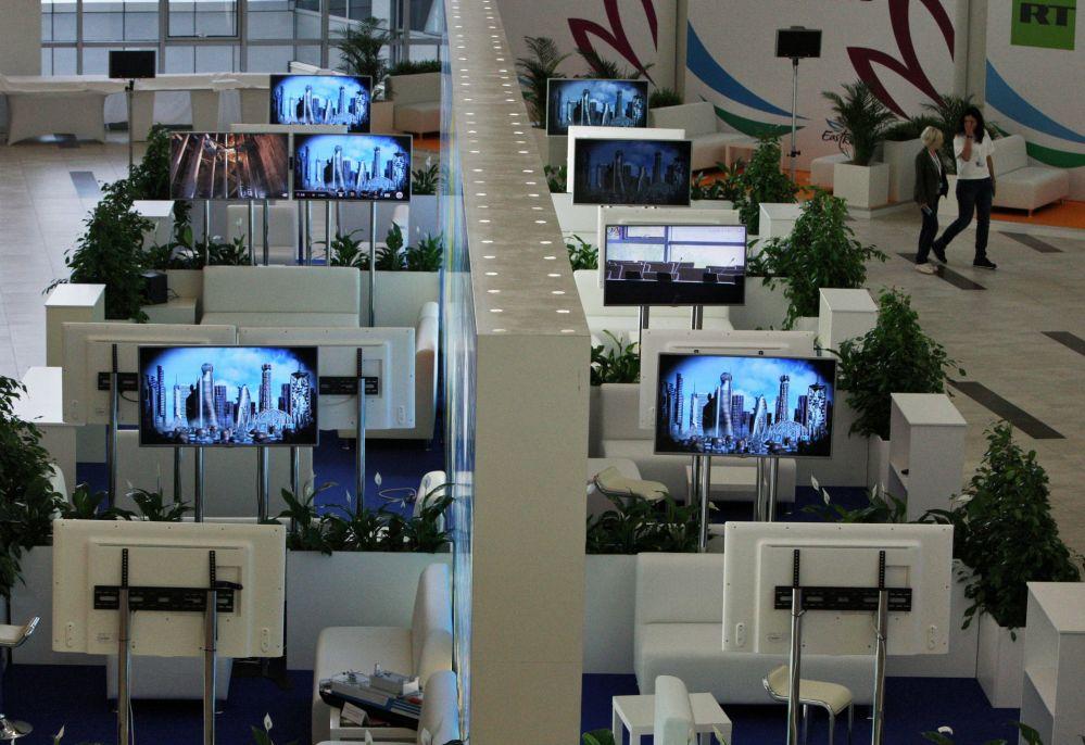 A sala de exposições da Universidade Federal de Extremo Oriente, onde decorrerá o Fórum Econômico do Oriente