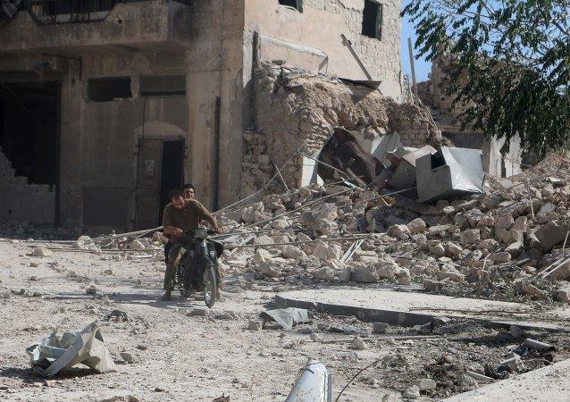 Área destruída na cidade de Alepo, na Síria.