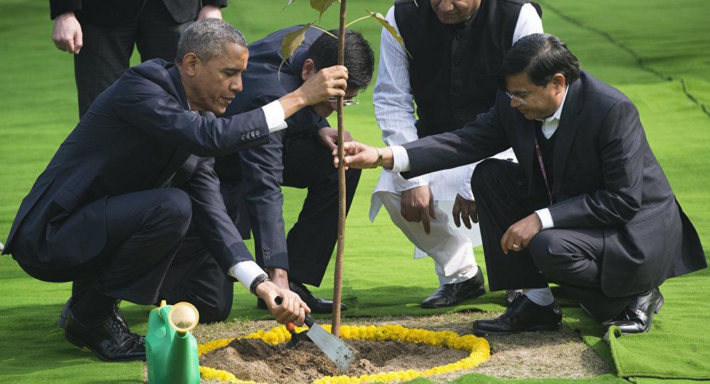 Barack Obama no jardim de Gandhi