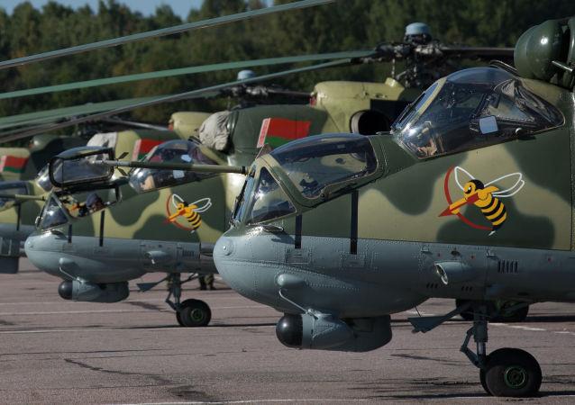 Helicópteros Mi-24 da Força Aérea bielorrussa