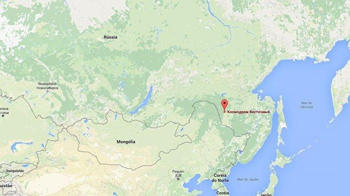 Cosmódromo Vostochny no mapa da Rússia