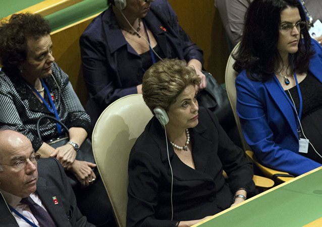 La presidenta de Brasil, Dilma Rousseff, en una sesión plenaria de la Cumbre de las Naciones Unidas en Manhattan