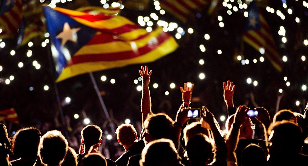 Manifestação pró-independência em Barcelona, Espanha, 25 de setembro de 2015