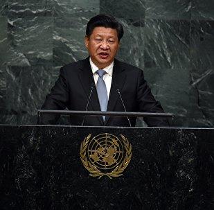 Presidente chinês Xi Jinping faz discurso na 70 sessão da Assembleia Geral da ONU, 28 de setembro de 2015