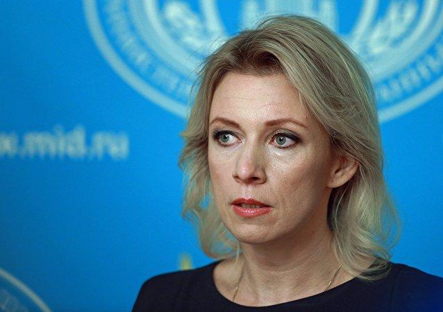 Maria Zakharova, representante oficial do Ministério russo das Relações Exteriores, durante briefing