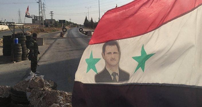 Posto de controle do exército governamental na Síria