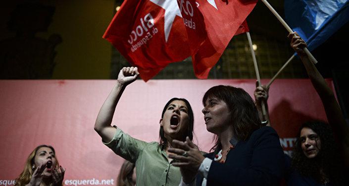 Partido português Bloco de Esquerda durante campanha eleitoral