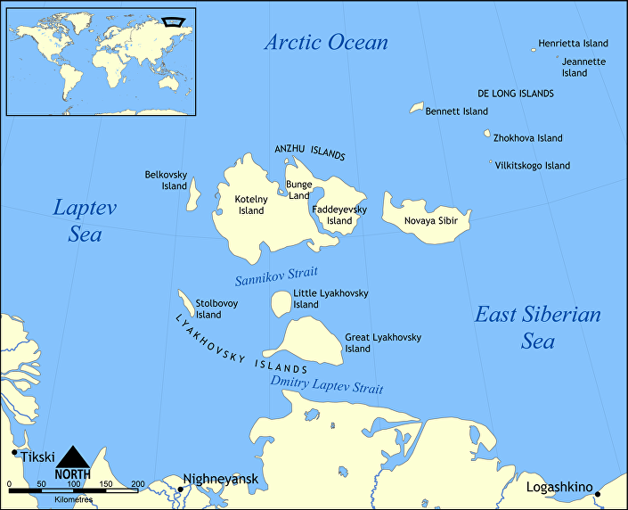 Mapa das Ilhas Lyakhovsky