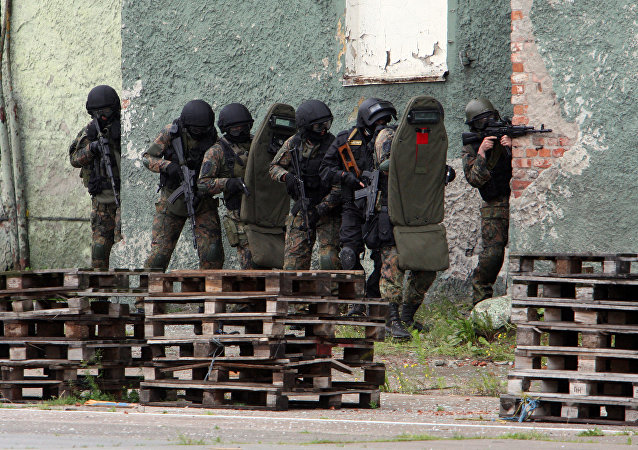 Exercícios antiterroristas na cidade russa de Kaliningrado