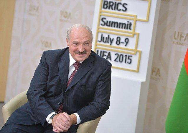 Presidente da Bielorrússia Aleksandr Lukashenko durante a cúpula dos BRICS, Ufa, 8 de julho de 2015